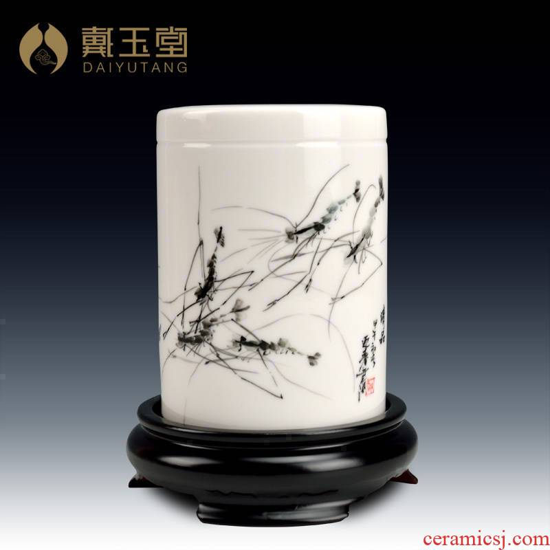 Yutang dai for head 'day gift the teacher practical decoration/ceramic hand - made painting and calligraphy brush pot furnishing articles