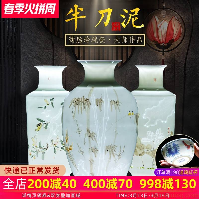 Jingdezhen ceramics manual hand - made vases under glaze color porcelain insulator knife clay flower arrangement sitting room place, household act the role ofing is tasted