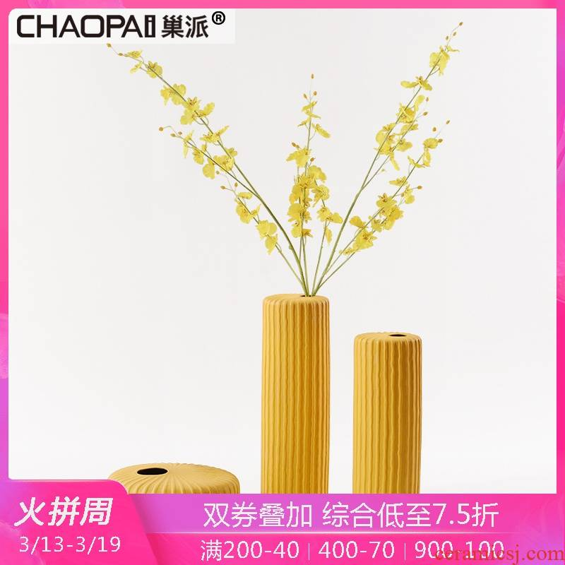 Yellow flower implement three - piece of new Chinese style in vase ceramics handicraft creative home sitting room ark, indoor decoration