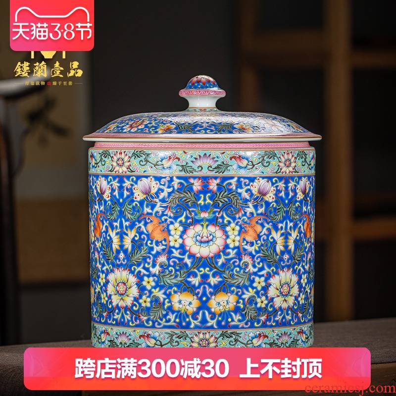 Jingdezhen ceramic all hand made blue and pastel bound branch lotus caddy fixings large - sized kunfu tea tea tea storage storehouse fitting