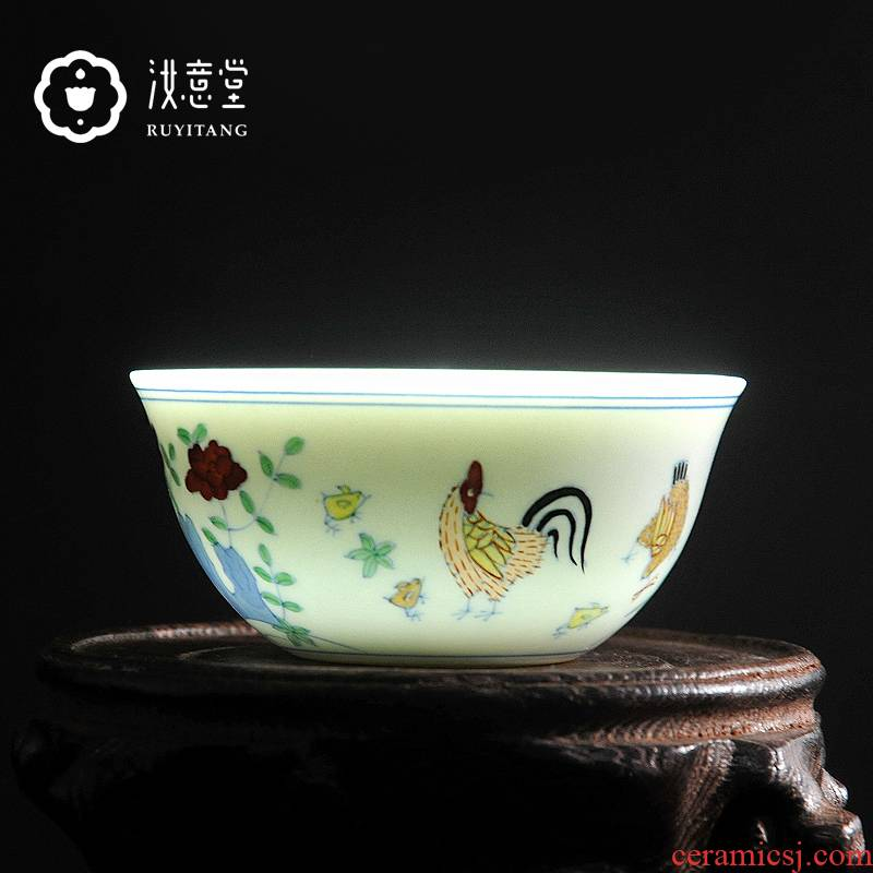Jingdezhen ceramic imitation Ming chenghua chicken color bucket cylinder cup sample tea cup tea cup kung fu tea cups small bowl, master