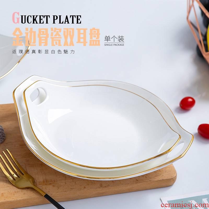 Up Phnom penh ipads porcelain creative FanPan new.net HongCan ears deep dish dish Nordic household ceramic plate is hot