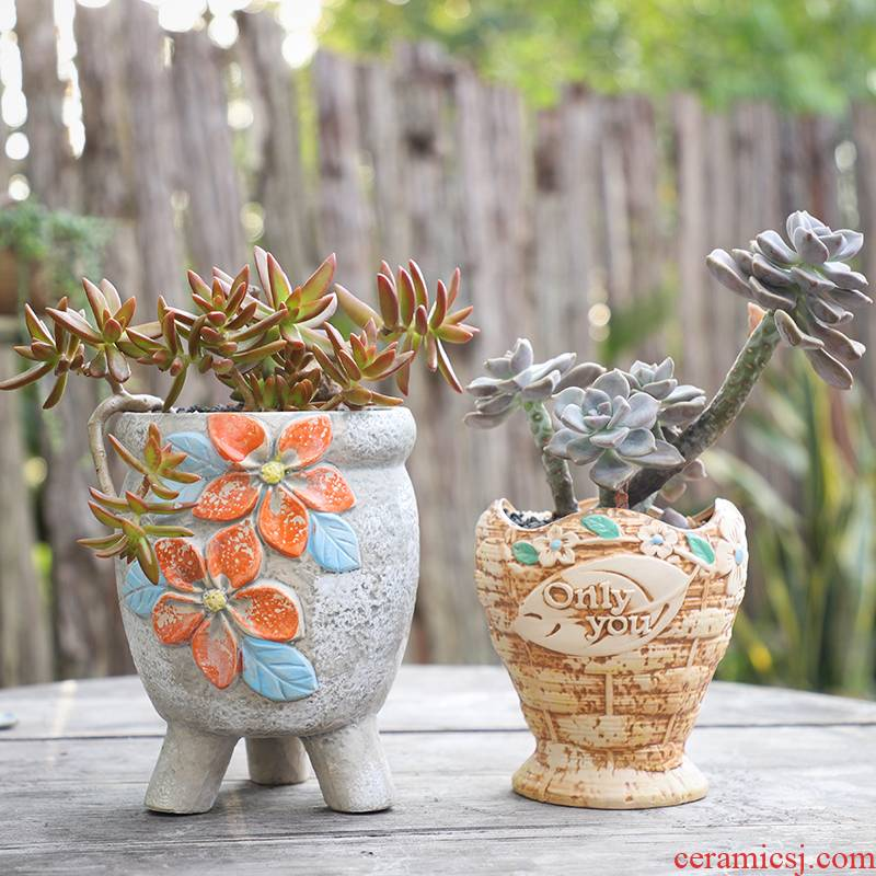 Large fleshy ceramic creative flowerpot coarse pottery flowerpot mage high basin of the old running the fleshy flowerpot pack mail special offer a clearance
