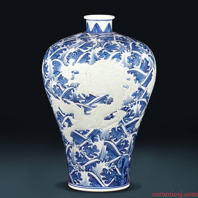 Jingdezhen ceramics imitation yongzheng hand carved dragon antique Chinese blue and white porcelain vase sitting room ark, furnishing articles