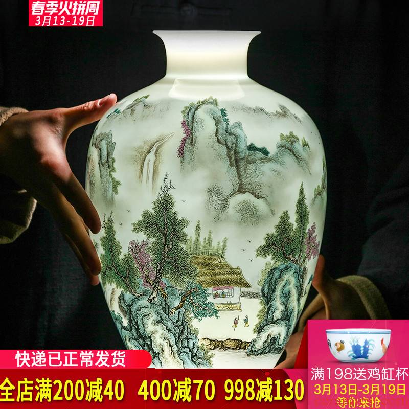 Jingdezhen ceramic vases, flower arranging new sitting room of Chinese style household furnishing articles pastel egg - shell China decorative arts and crafts