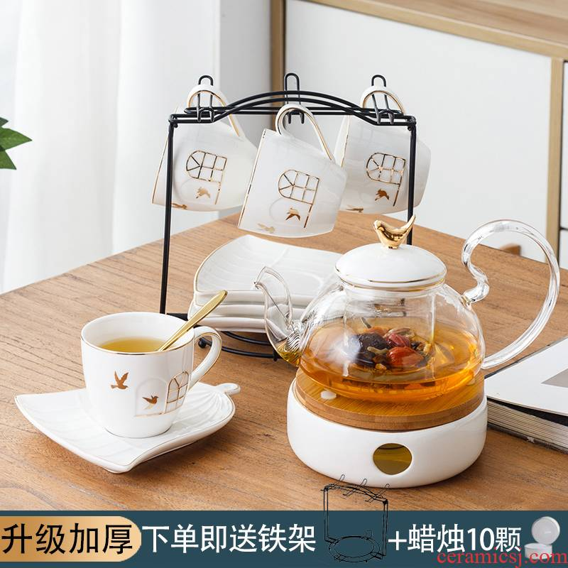 Based heating English afternoon tea fruit cups ceramic teapot set ou tea set household heat resistant glass