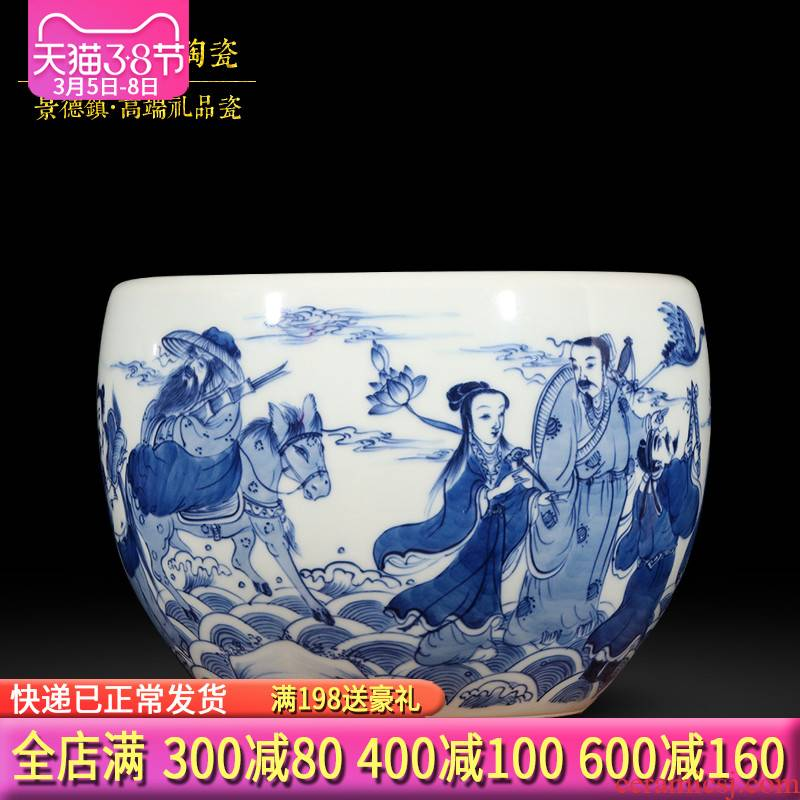 Eight immortals of jingdezhen ceramics hand - made of blue and white porcelain vase aquarium furnishing articles furnishing articles sitting room adornment