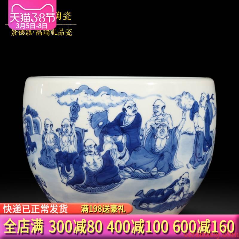 Jingdezhen blue and white ceramics hand - made the writing brush washer water shallow ocean 's 18 tea wash to handicraft furnishing articles