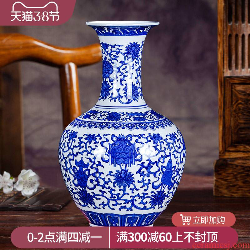 Blue and white porcelain of jingdezhen ceramics floret bottle archaize sitting room adornment of new Chinese style household crafts are arranging flowers