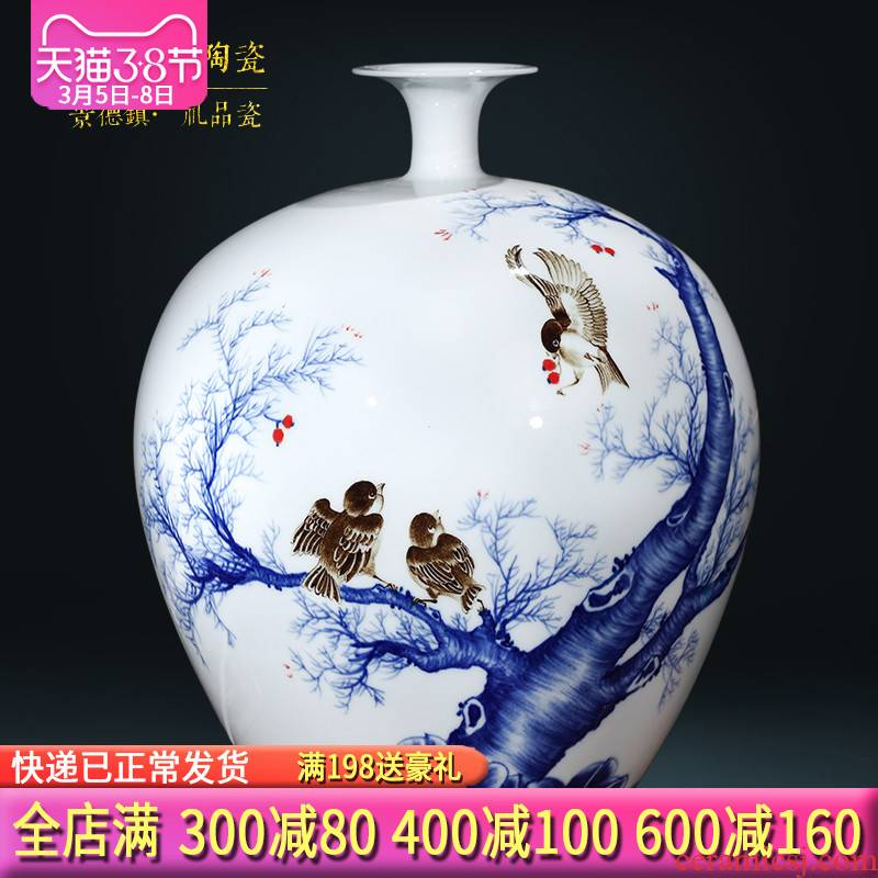 Jingdezhen ceramics famous master hand draw large blue and white porcelain vases, Chinese style living room TV cabinet porch place