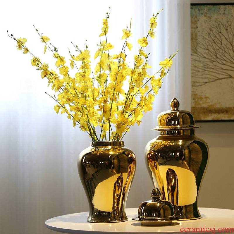 Jingdezhen gold - plated vase mesa of new Chinese style porch club show the general pot of flower implement candy as cans accessories