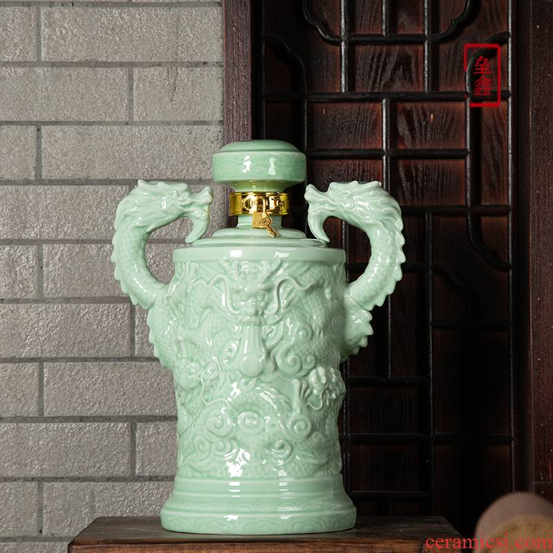 An empty bottle of jingdezhen ceramic household seal 1/10 antique green glaze ssangyong jin wine jar hip flask