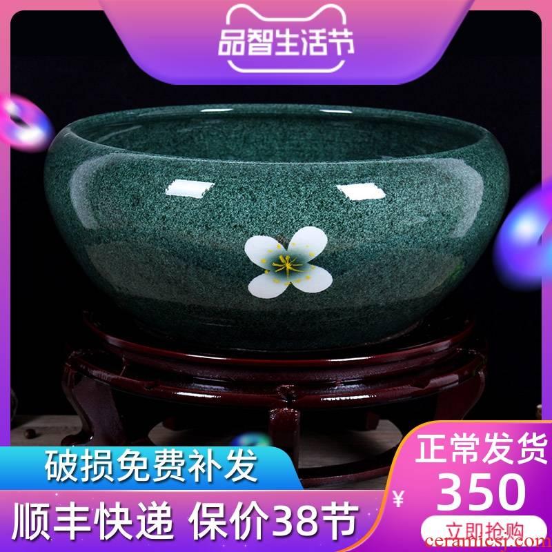 Jingdezhen ceramics daikin tank cylinder water lily tortoise refers to flower pot furnishing articles large aquarium ice name plum