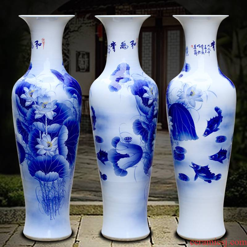 Jingdezhen ceramics hand - made harmony of large blue and white porcelain vase sitting room adornment hotel study big furnishing articles