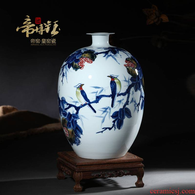 Jingdezhen ceramics laughs a hand - made modern blue and white porcelain vase household contracted fashion crafts