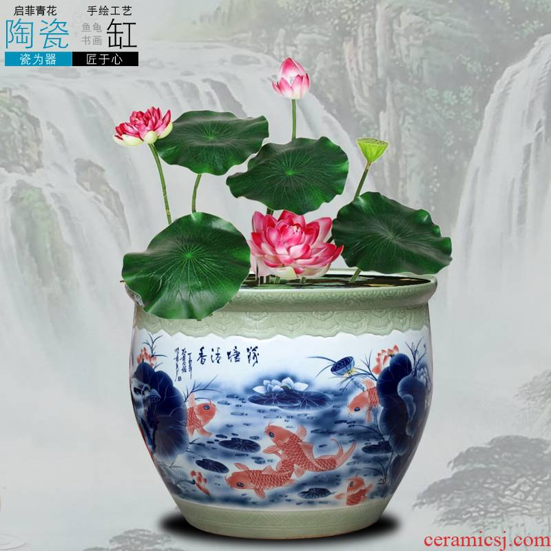 Jingdezhen ceramics goldfish VAT package mail the tortoise basin hydroponic plant water lily bowl lotus tank floor furnishing articles