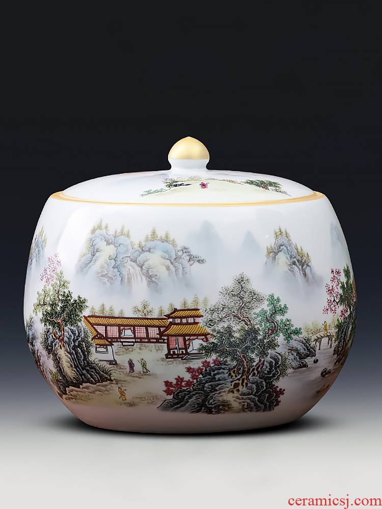 Jingdezhen ceramics caddy fixings size with cover grain storage tank tea cake tin of home furnishing articles