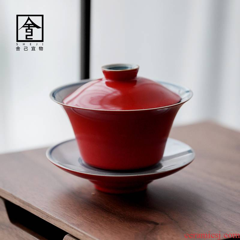 Jingdezhen coral red pure manual three tureen tea bowl with single GaiWanCha kunfu tea ceramic cups