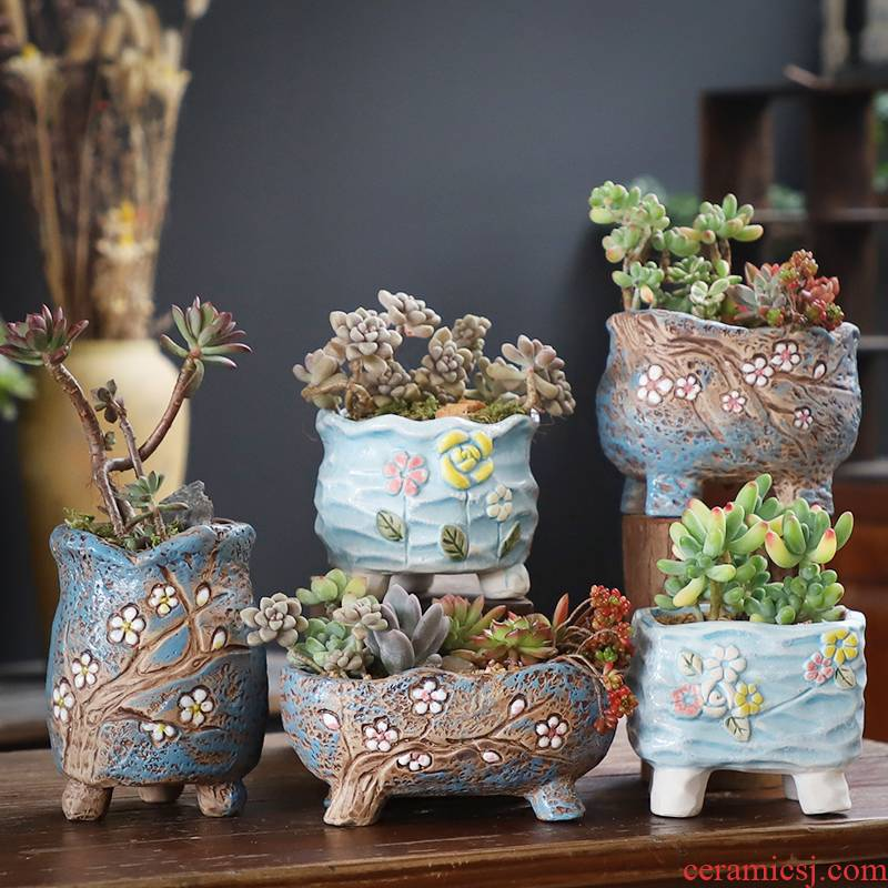 More meat pot creative ceramic flowerpot More meat meat meat the plants flower pot coarse pottery special move large small clearance