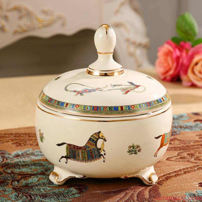 European creative ceramic storage tank with cover snacks can candy as cans tea pot home decoration tea table furnishing articles