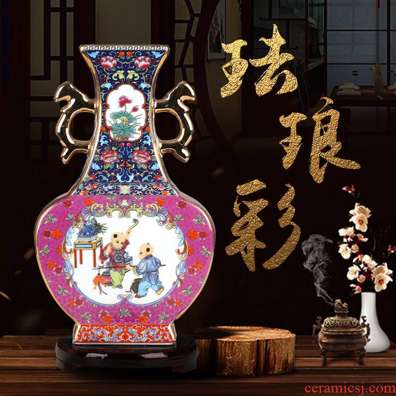Jingdezhen enamel made pottery porcelain floret bottle of flower arranging Chinese archaize sitting room adornment home furnishing articles TV ark