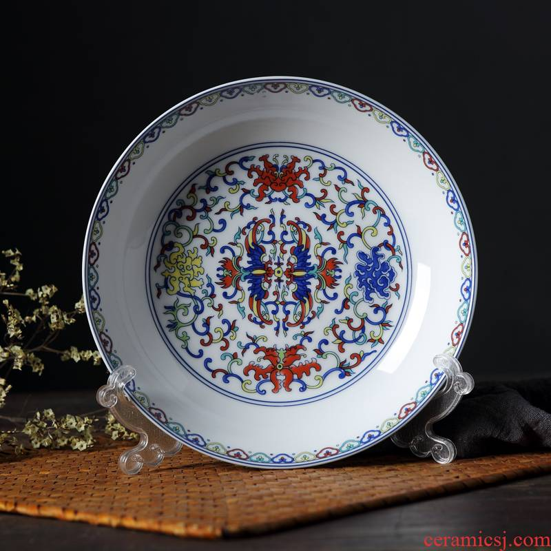 Jingdezhen antique plate Chinese blue - and - white ceramics steak plate household peacock 8 inches deep fruit dish dish dish