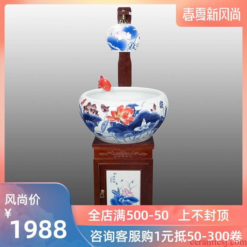 Porcelain of jingdezhen ceramic aquarium size with lamp atomized humidifying water tank water fountain creative aquarium decorations