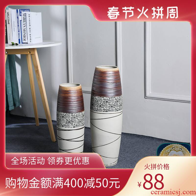 Ground vase household contracted sitting room porch American big vase dry flower arranging flowers tall ancient ceramic furnishing articles