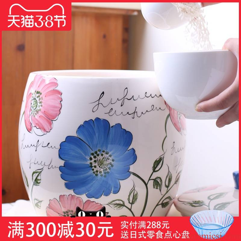 Ceramic ricer box barrel 5 jins to rice storage box household storage tank moistureproof insect - resistant 10 jins m jar with cover 20 jins
