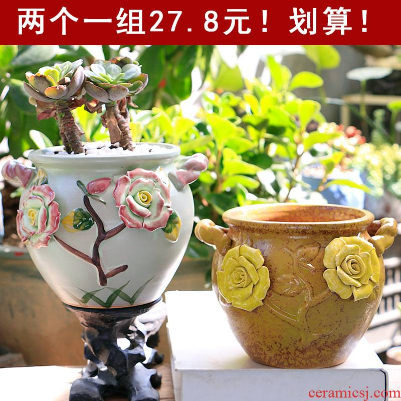 Fleshy flower pot large old running of large diameter high Lao - zhuang special offer a clearance creativity in crude some ceramic porcelain clay pot