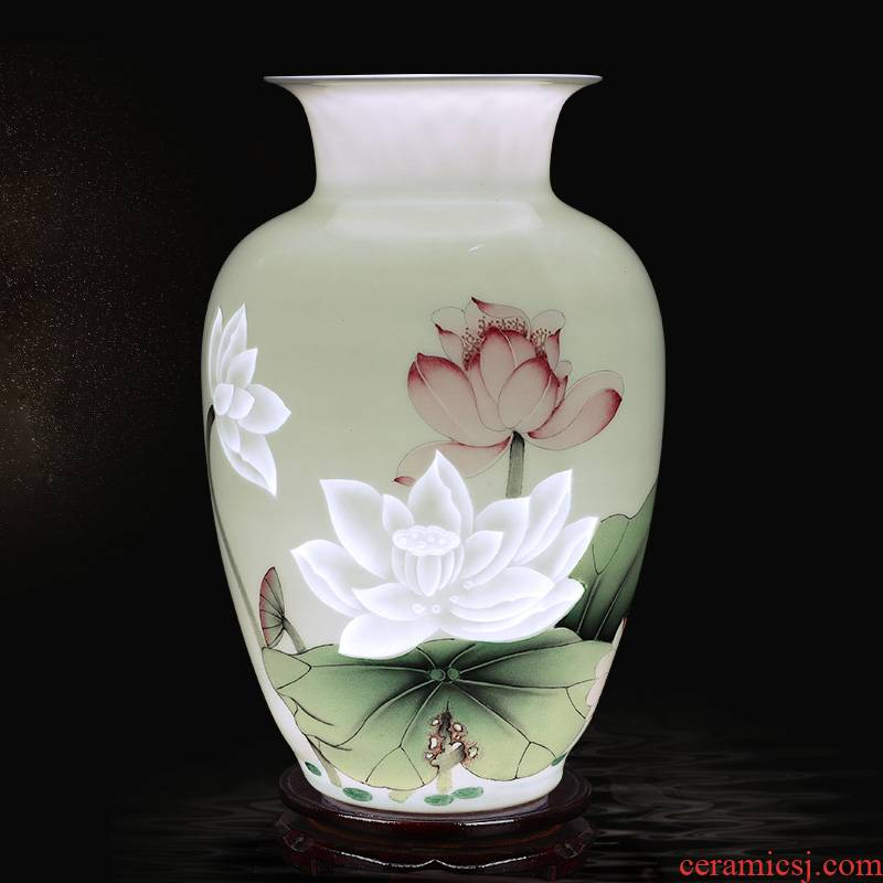 Thin body fragrant lotus creative and exquisite porcelain of jingdezhen ceramics ancient carve vases furnishing articles flower arranging hand - made ornaments