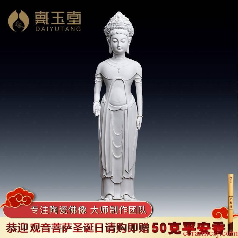 Yutang dai dehua white porcelain goddess of mercy Buddha enshrined furnishing articles 24 inches jian - pin Lin made lotus guanyin/D26-26 a