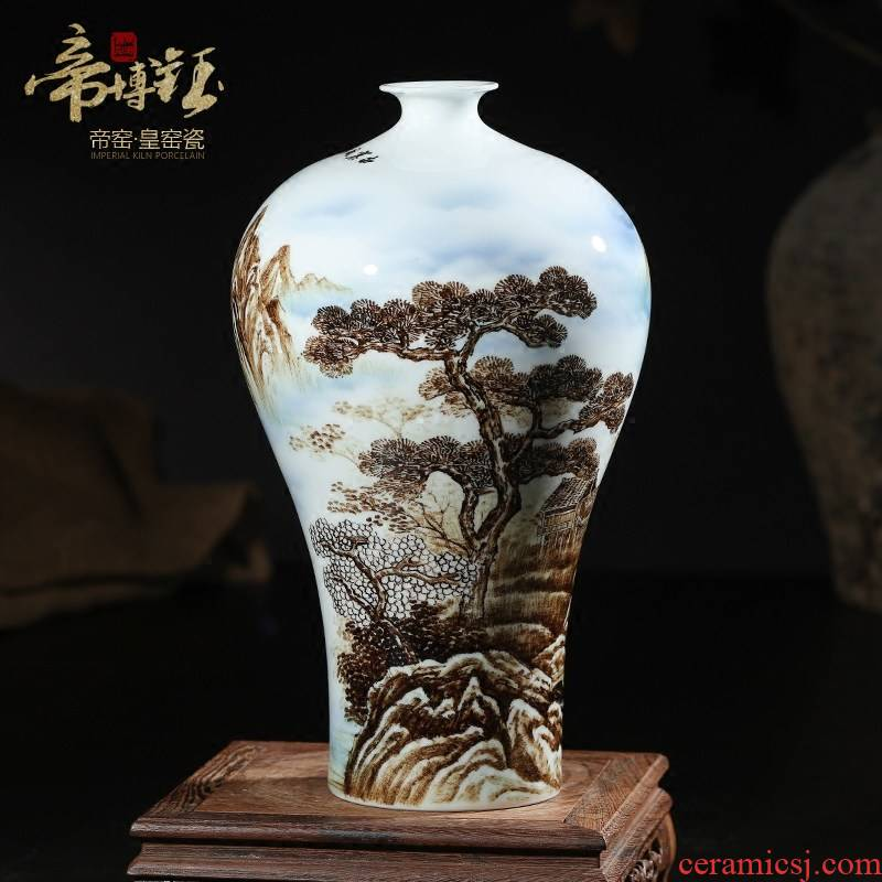 The Master of jingdezhen ceramics sitting room adornment is placed manual hand - made scenery thin body porcelain bottle name plum Chinese vase
