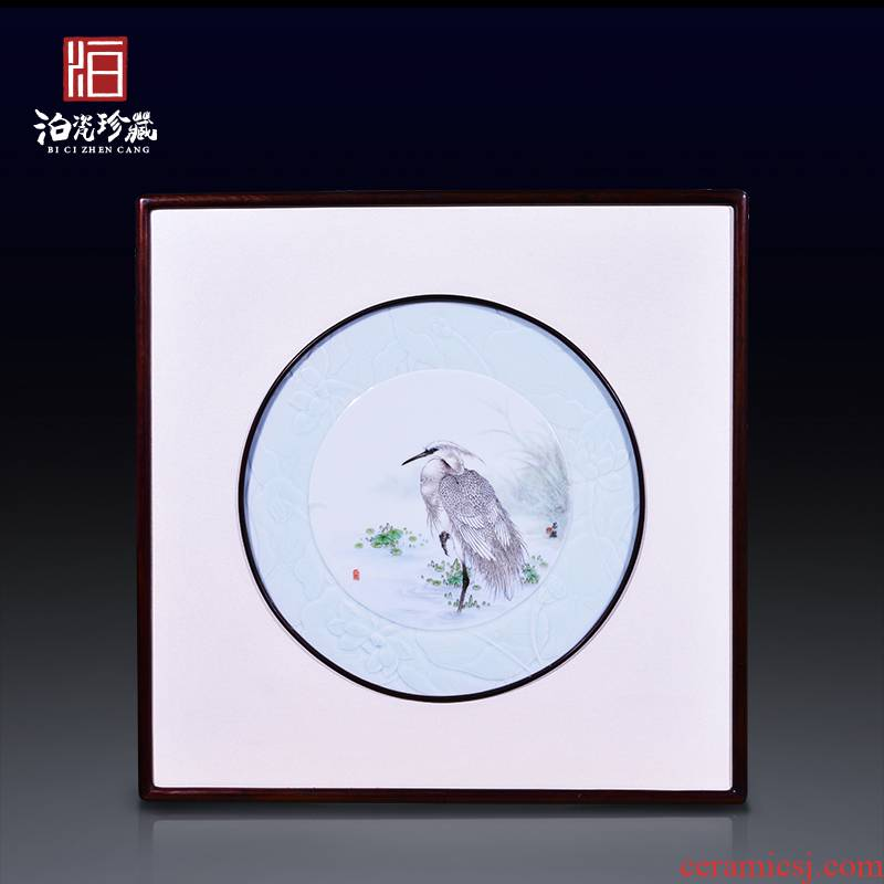Jingdezhen ceramics hand - made egrets porcelain plate painting sitting room adornment wall hanging picture of new Chinese style porch home furnishing articles