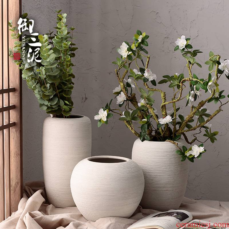 Dried flower vase coarse pottery flowerpot checking ceramic I and contracted hydroponic fleshy Nordic white sitting room place, arranging flowers