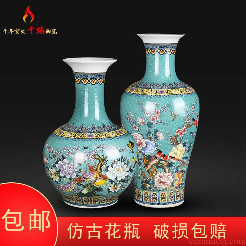 Jingdezhen ceramic colored enamel big vase painting of flowers and household flower arrangement sitting room adornment handicraft TV ark, furnishing articles