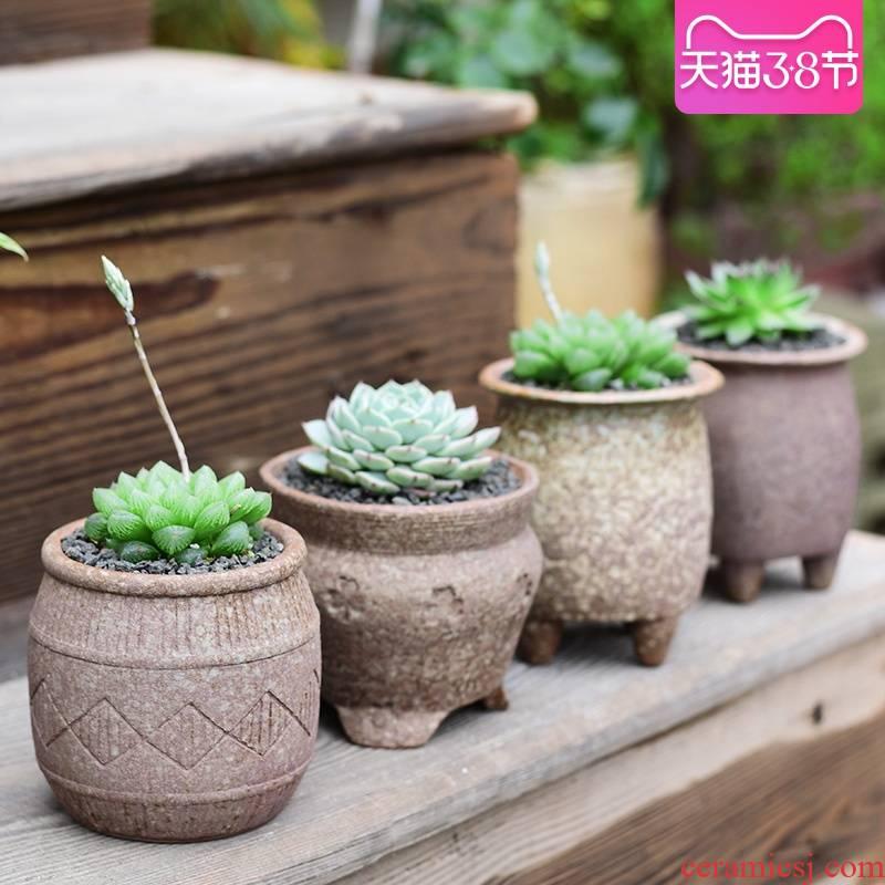 Meaty plant POTS ceramic clearance small coarse pottery breathable household balcony green plant pot creative clay POTS
