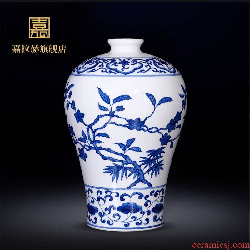 Jia lage hand - made antique vase jingdezhen ceramic bottle furnishing articles sitting room of new Chinese rich ancient frame of blue and white porcelain porcelain
