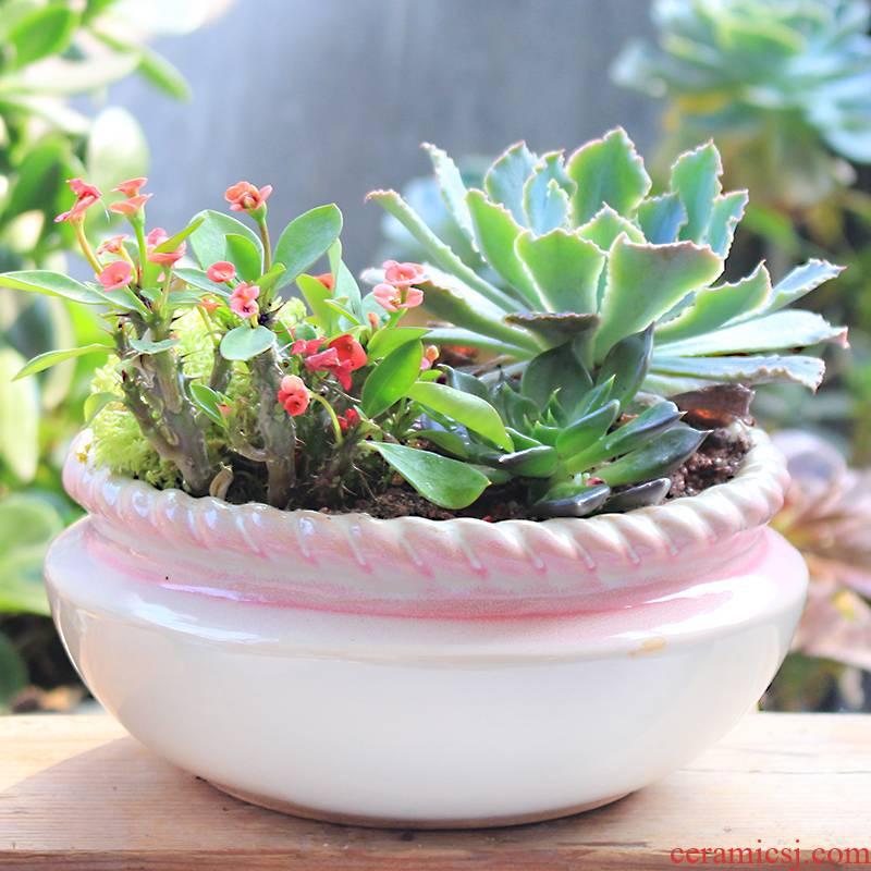 Fleshy flowerpot classic pink breathable retro flower pot ceramic large creative desktop meat meat home balcony flowerpot