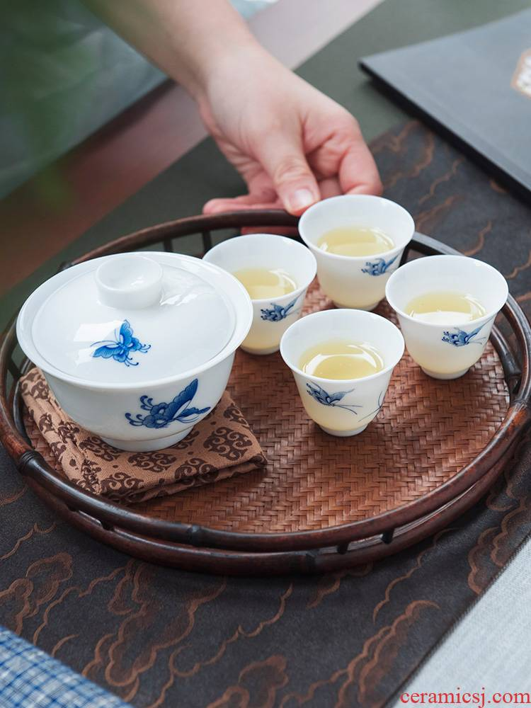 Good thing JingLan tea suit kung fu tea set suit of jingdezhen ceramic household hand - made butterfly love of a complete set of tea