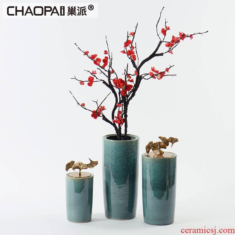 New Chinese style ceramic pot flower vase soft decoration light model room key-2 luxury sales office furnishing articles cover handle ginkgo biloba
