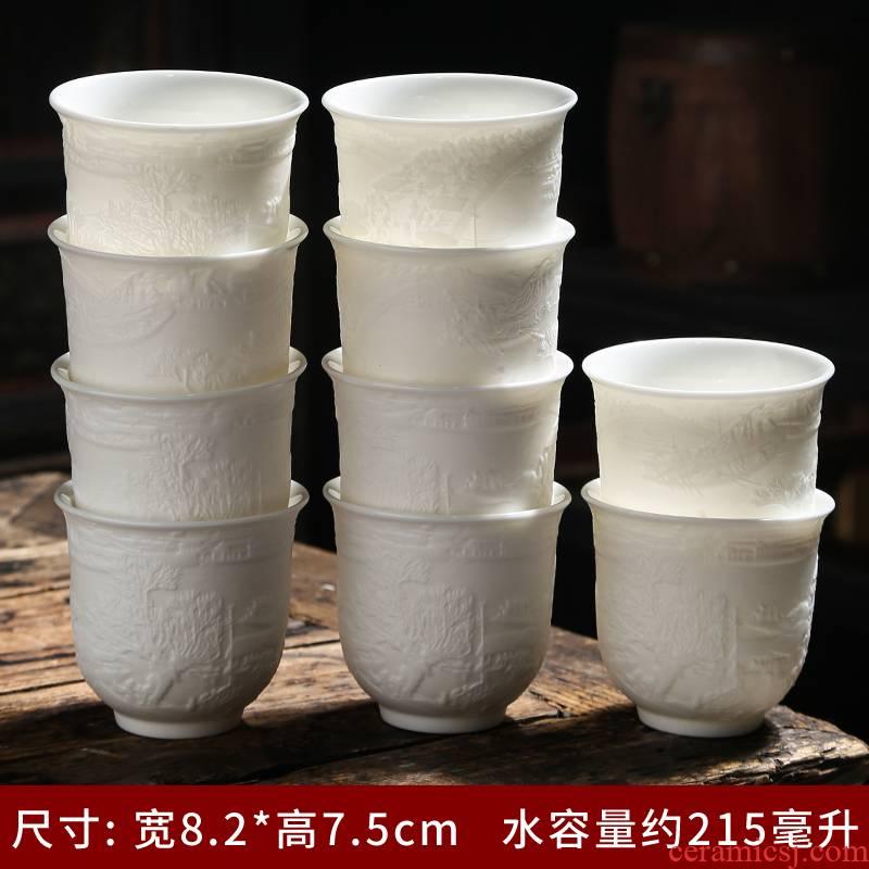Suet jade porcelain dehua white porcelain kung fu tea cups of a single ceramic tea cup sample tea cup tea master cup single CPU