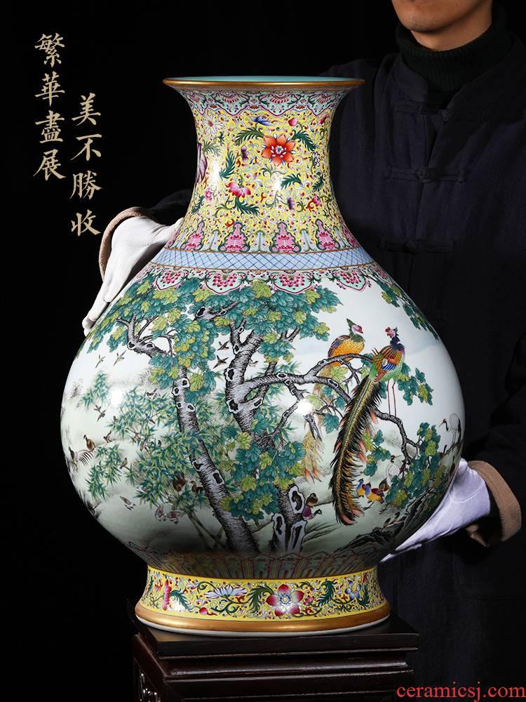 Jingdezhen ceramic vase landing YangShiQi hand - made yellow medallion in pastel birds pay homage to the king okho spring bottle furnishing articles