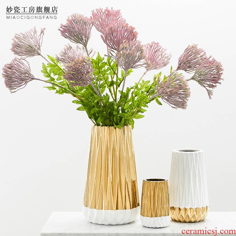Creative ceramic golden color matching origami vase furnishing articles Nordic table decorations, the sitting room flower arranging dried flower flower