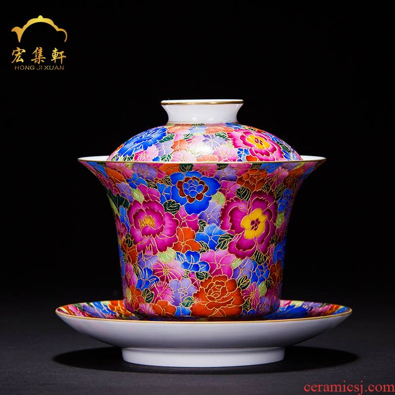 Tureen jingdezhen kung fu tea tea cups color tea bowl wire inlay enamel implement only three cups of tea Tureen