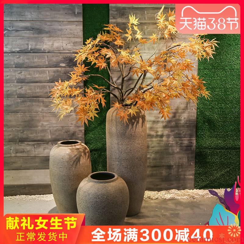 Jingdezhen retro nostalgia ceramics of large coarse pottery vase flowers large floral suit hotel villa decoration