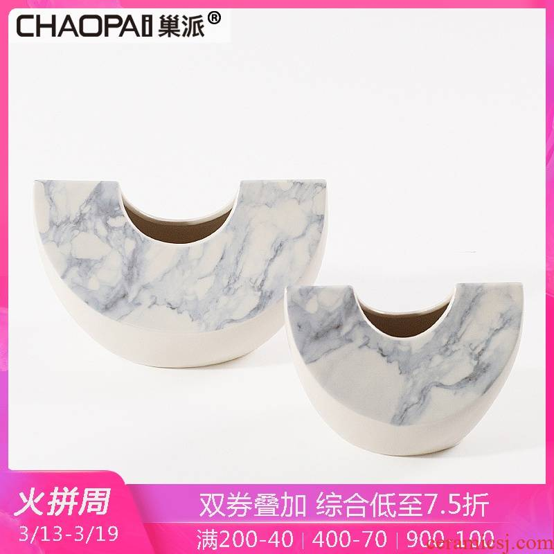 The ikea Chinese creative ceramic vase handicraft floor hall ark, rich ancient frame partition decoration flower implement furnishing articles