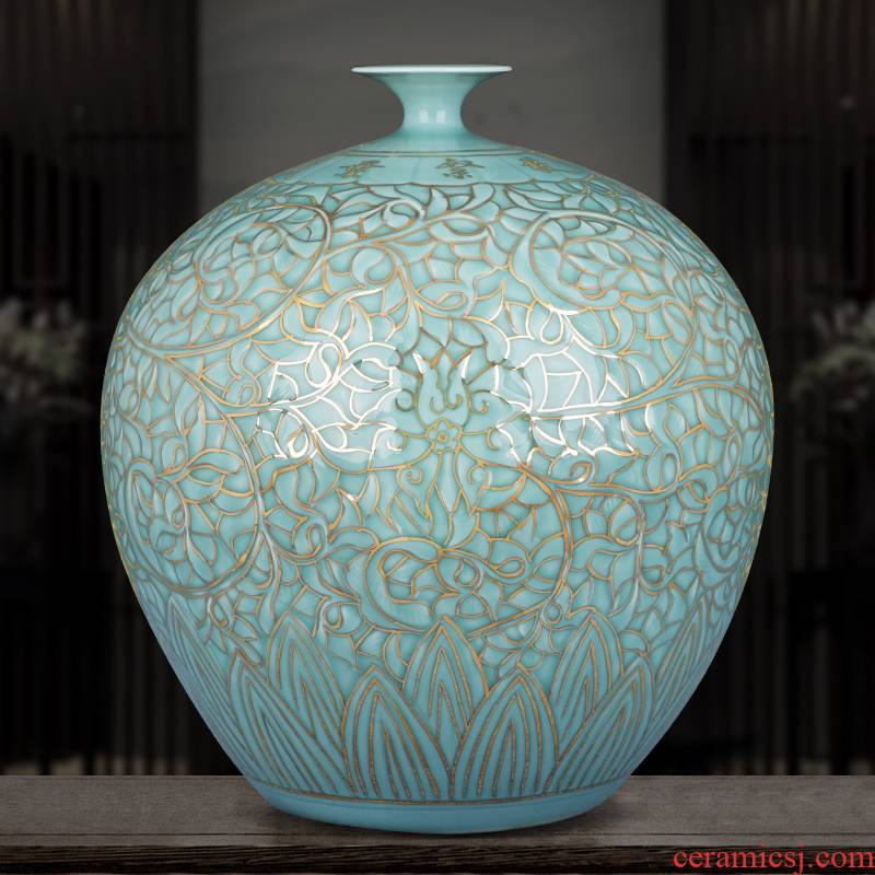 The Master of jingdezhen ceramics vase hand - made shadow blue paint large pomegranate bottles of Chinese style sitting room adornment is placed