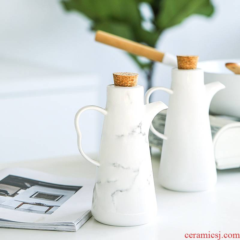 Ceramic marble oil can kitchen household large leakproof soy sauce vinegar bottle of strain to the original oil tank capacity
