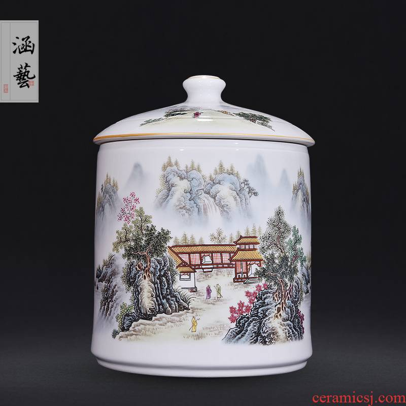 Jingdezhen ceramic famille rose straight canister optimal cabinet the qing ju caddy fixings Chinese style living room home decoration furnishing articles craft gift